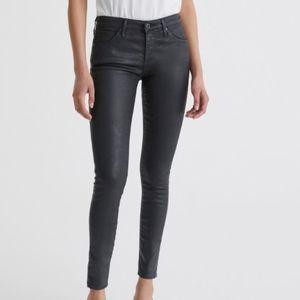 AG- BLACK- The Legging Ankle Leatherette Jeans